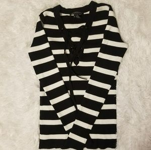 NWOT INC Lace Up Sweater